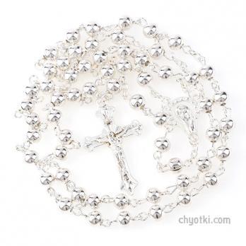 Серебряные католические чётки